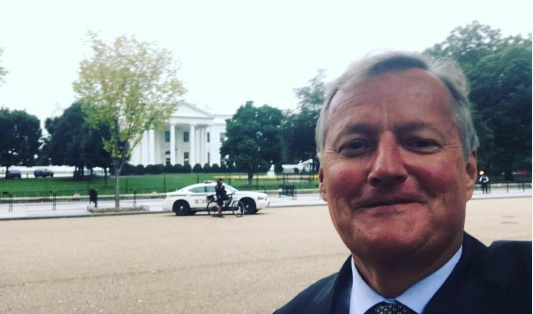 Screenshot fra Rune Bjerkes instagramkonto, her utenfor det hvite hus i Washington.