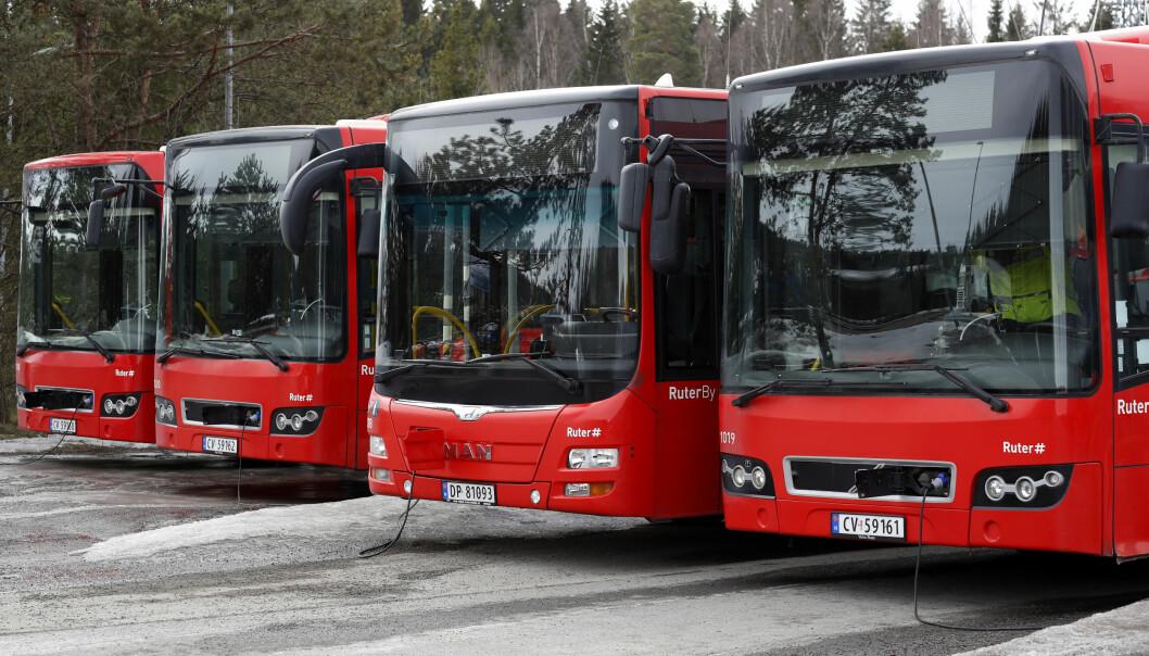 Parkerte busser på Klemetsrud i Oslo. Foto: Cornelius Poppe, Scanpix NTB