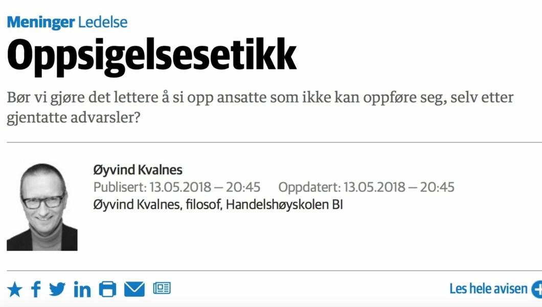 Faksimile fra Dagens Næringsliv, eAvis-versjonen