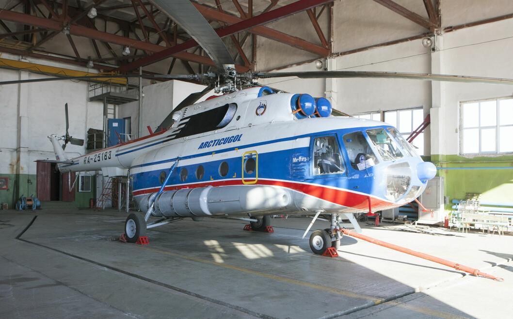 Åtte mennesker omkom da russisk helikopter av denne typen styrtet ved Barentsburg høsten 2017. Foto: Birger Amundsen / NTB scanpix