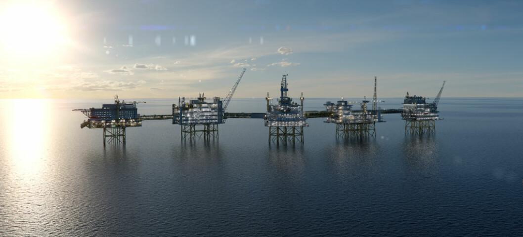 Gass og olje er blant Norges viktigste pengetrykkerier. Her gigantfunnet Johan Sverdrup, som er under bygging. Illustrasjon: Equinor
