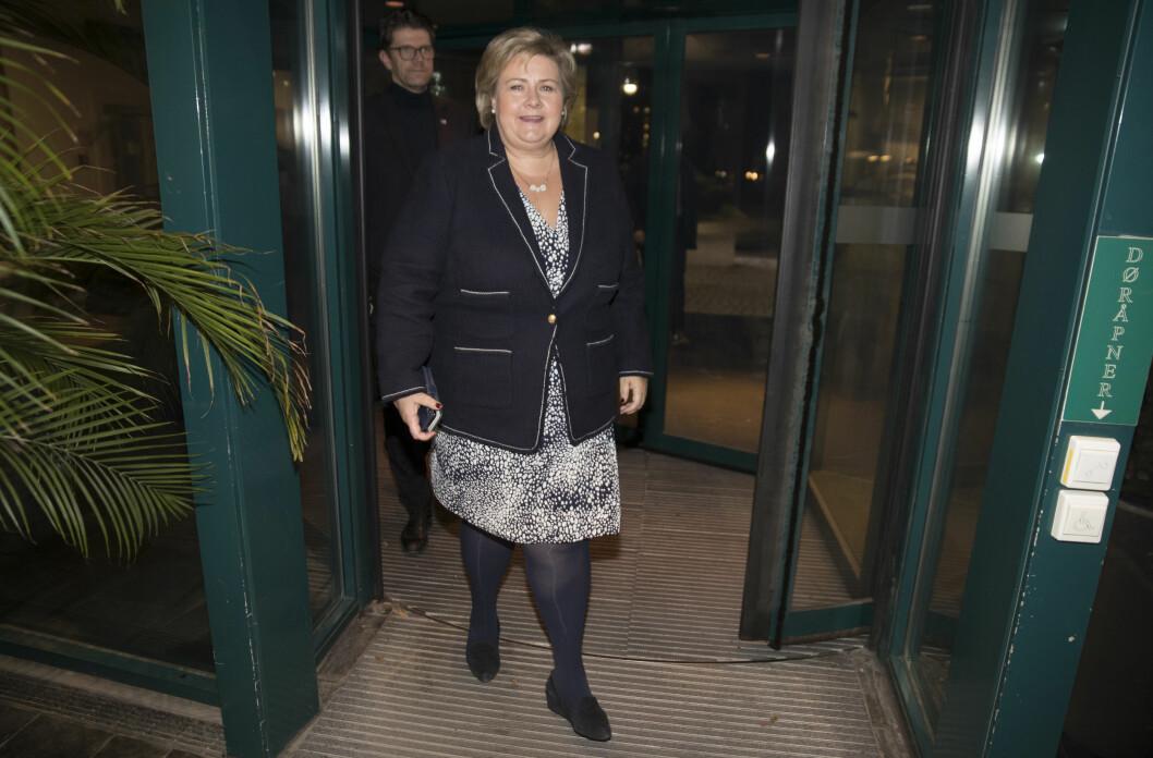 Oslo  20181102. Statsminister Erna Solberg ankommer partilederdebatt i NRK etter at KrF ønsker å gå inn i regjering. Foto: Terje Pedersen / NTB scanpix