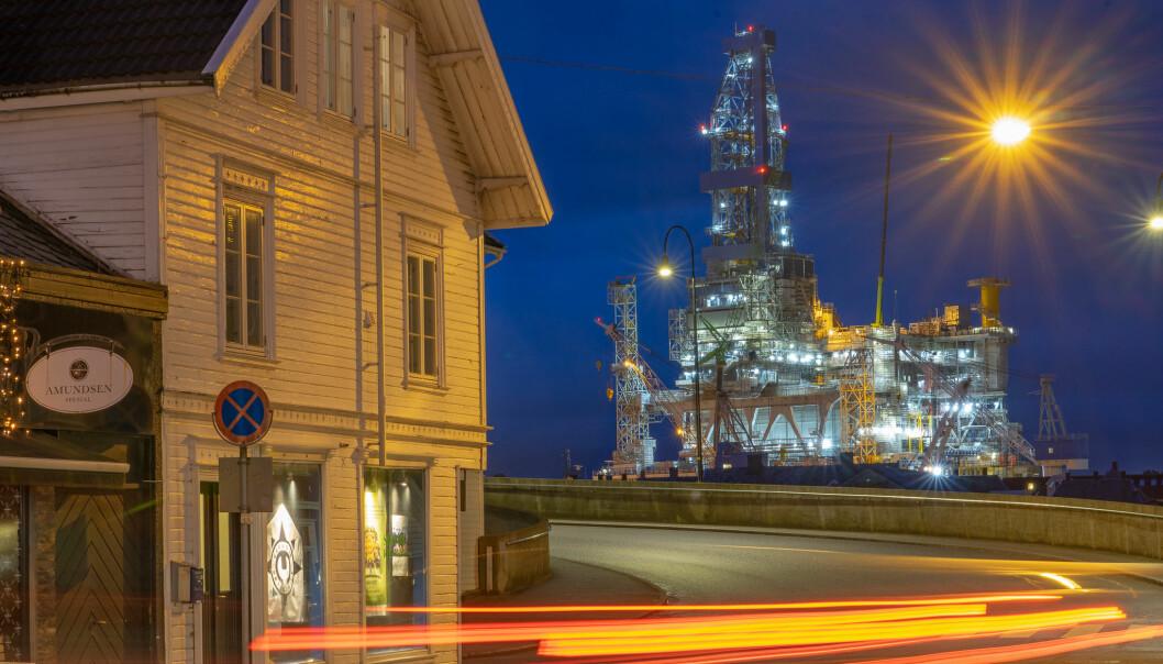 Sysselsetting innen oljeindustrien vil falle. Her fra byggingen av en Johan Sverdrup-installasjon i Haugesund. Foto: Paal Kvamme