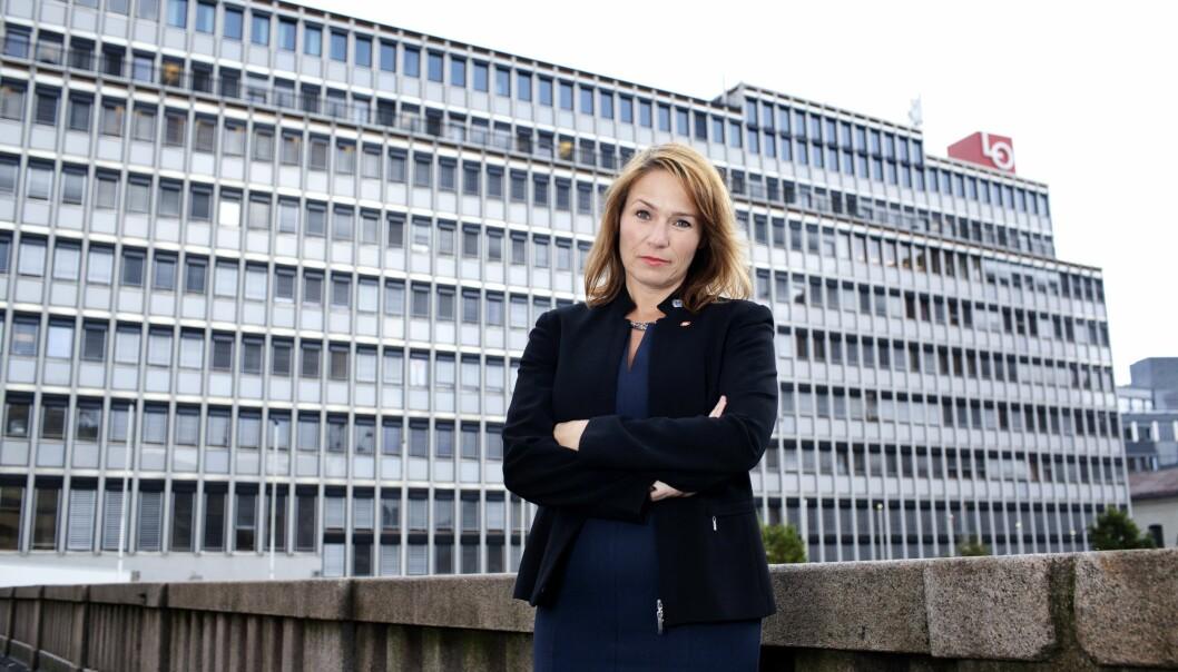 Trine Lise Sundnes fronter 72 000 medlemmer i handel og kontor i Norge i kampen for en utvidelse av private tjenestepensjonsordninger. Foto: Handel og kontor i Norge.